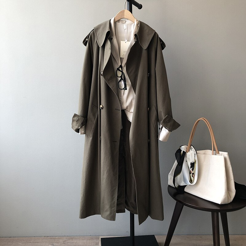CMAZ 2021 Spring Autumn Long Trench Coat Women Loose Trench Coats With Belt Casual Female Outwear Fa