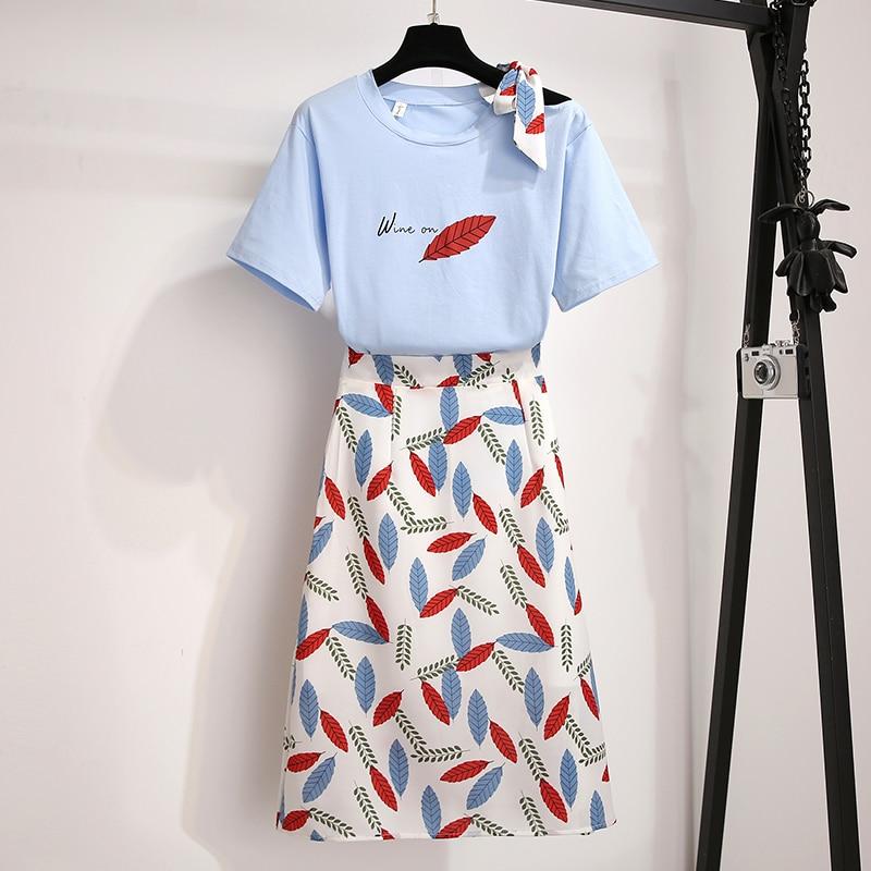 Recién llegado, camiseta vintage de verano de pasarela con lazo elegante + estampado de hojas, faldas ajustadas de gasa para chicas, ropa de mujer, conjunto de 2 uds