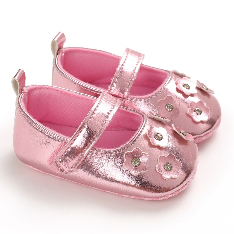 E&Bainel New Fashion Baby Girls Baby Shoes Newborn First Walker 3D Flower Leather Infant Princess So