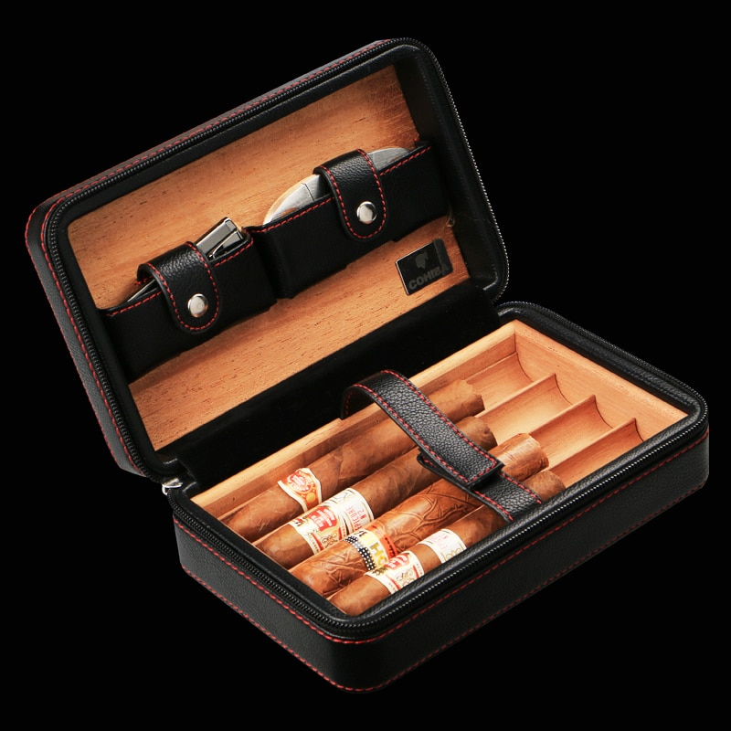 COHIBA Cigar Humidor Holder Leather Oblong Black Brown Portable Cigar Storage Box (Not Include Cutter Lighter) Father's Day Gift