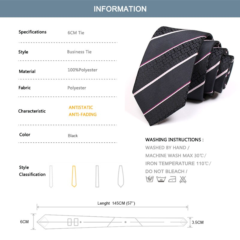 New Design 6CM Skinny High Quality Business Suit Work Neck Tie For Men Fashion Formal Necktie Male Striped Cravate With Gift Box