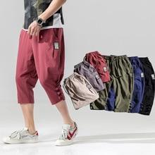 5XL Summer Men Sweatpants Linen Loose Hippie Harem 3/4 Sport Pant Casual Jogger Running Workout Athletic Pant Trouser Sportswear