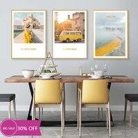 Toile de decoration de noel  affiches de peinture  moderne  jaune  paysage  tableau dart mural pour salon  decoration de maison