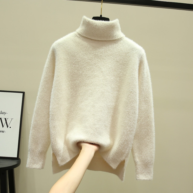 Autumn and winter loose 2019 new high neck mink like white thickened chenille base sweater for women's Pullover enlarge