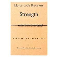 Bracelet de force Morse Code acier inoxydable à la main perle réglable chaîne Bracelets bijoux inspirants pour les femmes