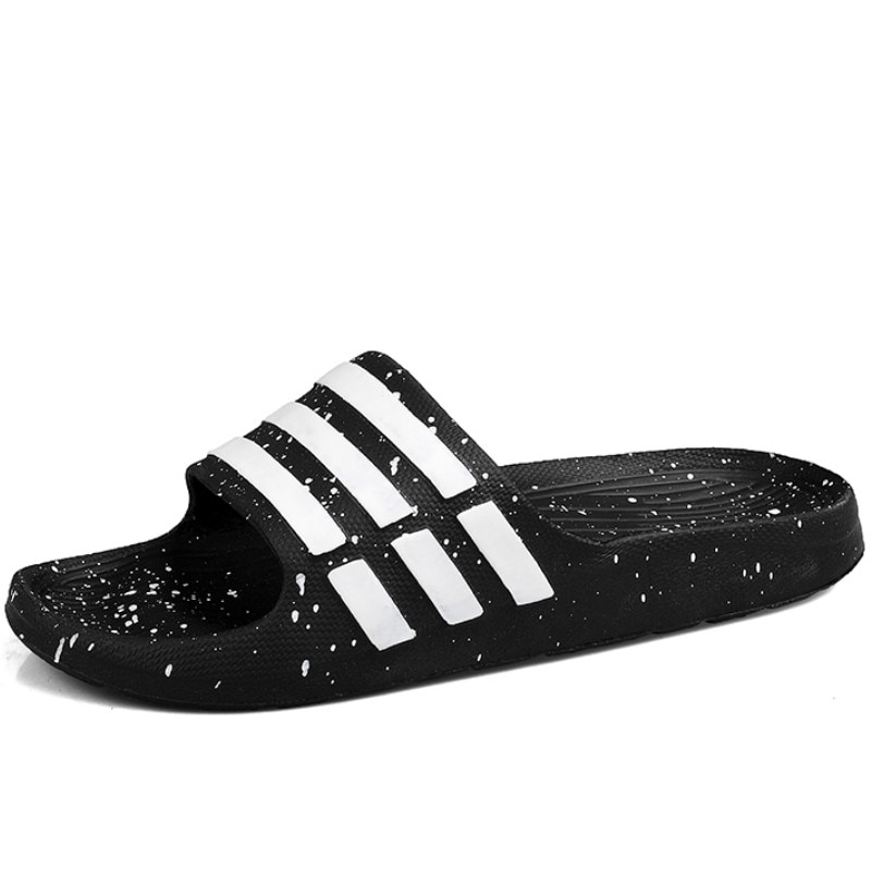WEH Men Slippers Summer beach 2020 Slides for Men Shoes Couple Flip Flops Soft Black And White Stripes Casual Slippers Male