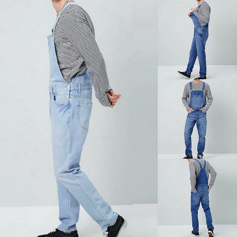 Мужские джинсовые комбинезоны больших размеров, модные мужские рваные джинсовые комбинезоны, джинсы 2021, мужской Облегающий комбинезон в по...