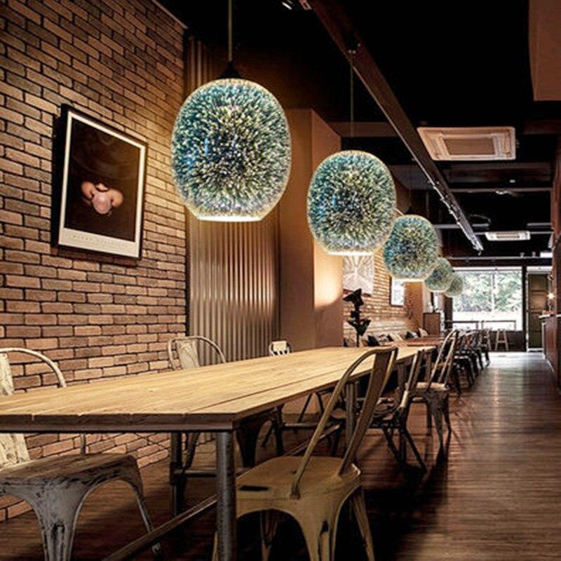 Modern Design Glass 3D LED Pendant Lights Colorful Nordic Starry Sky Pendant Lamp Kitchen Fixtures Living Room Indoor Decor