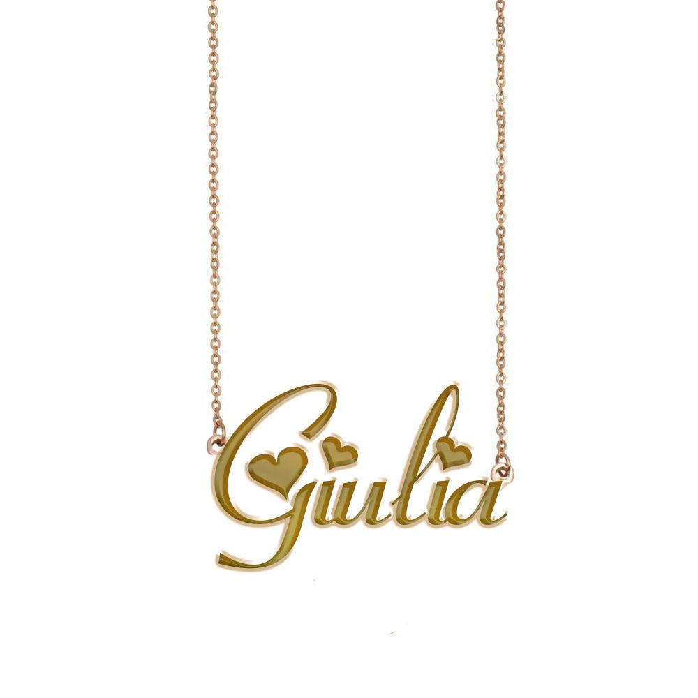 Collar con nombre de Giulia, collar de placa de identificación personalizado para mujeres niñas mejores amigos cumpleaños boda navidad regalo del Día de la madre