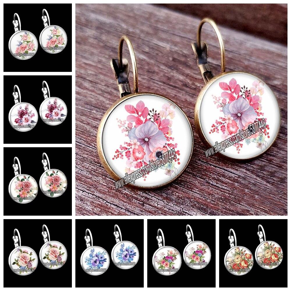 Pendientes de tuerca rosas para mujer bonitos pendientes de tuerca peonía flor pendientes de madre Flores mixtas cristal pendientes de cabujón regalo para mujer