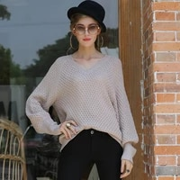 womens autumn and winter hot style v neck sweaters womens loose womens knitted sweaters womens clothing sweaters
