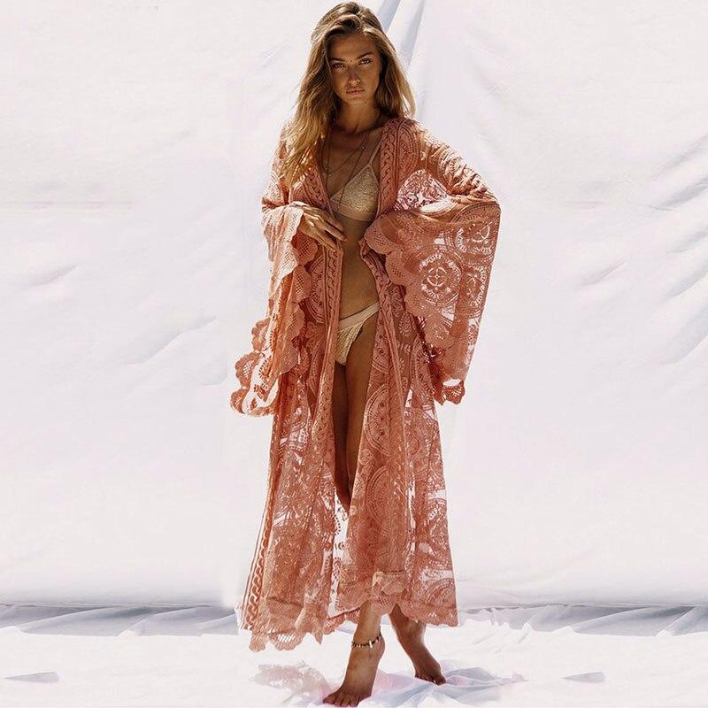 Boho inspirado kimono maxi wrap praia túnica topos batwing manga longa camisa feminina cintura auto-tie kaftan cobrir praia blusões