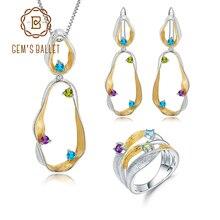 GEMS BALLET 925 en argent Sterling pierres précieuses anneau boucles doreilles pendentif ensembles pour les femmes améthyste naturelle topaze péridot torsion ensemble de bijoux