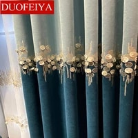 new light luxury curtains for living dining room bedroom thick cashmere shading chenille embroidered bead blue curtains tulle