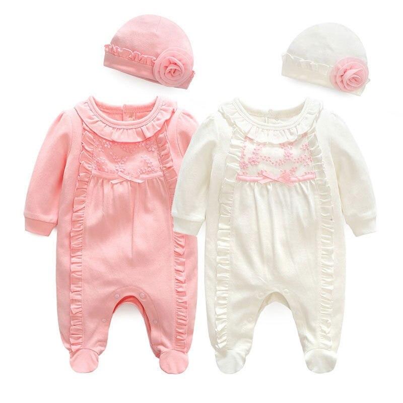 Infant Baby Mädchen Frühling Strampler Beiläufige Prinzessin Mädchen Kind Neugeborenen 0-12M Kleidung Overall Kinder Geburtstag Taufe Outfit kostüme