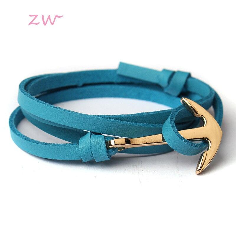 Gold Alloy Anchor Multilayer Leathers Bracelets & Bangles Fashion Retro Bracelet For Men Women Fashion Friendship Gift 3C0319