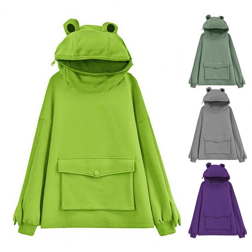 chic hooded long sleeve polka dot pocket design women s hoodie Frog Shape Pullover Hoodie Big Pocket Autumn Winter Long Sleeve Hooded Plush Women Sweatshirt Outwear Hoodie