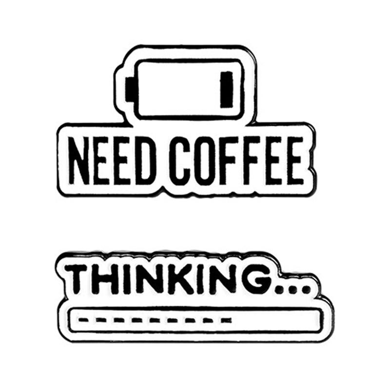 Café mente esmalte Pin pensar progreso Bar insignia café vida broche de solapa camisa bolsa Simple joyería regalo para amigo