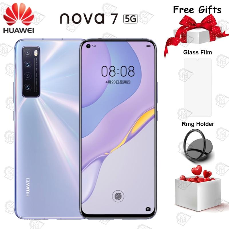 Мобильный телефон Huawei Nova 7, экран 6,53 дюйма, OLED дисплей 985 дюйма, Kirin SOC, 4000 мАч, основная камера 64.0MP, NFC, быстрая зарядка, смартфон