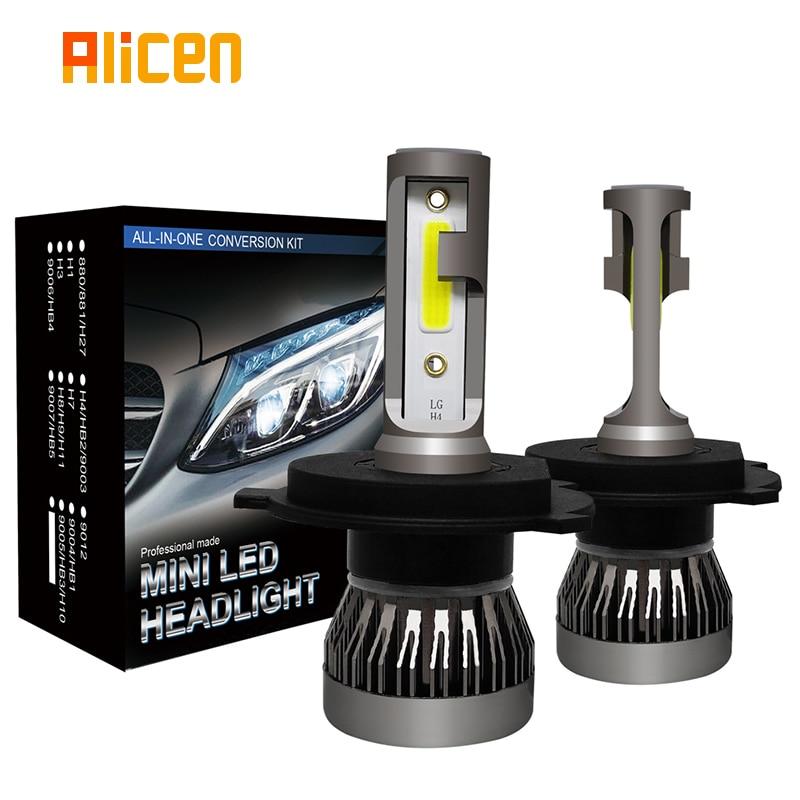 Lâmpadas de farol do carro h4 led mini bulbo oi lo feixe fanless design 36w auto lâmpada do carro 8000lm 6500k lâmpada ip68 à prova dip68 água