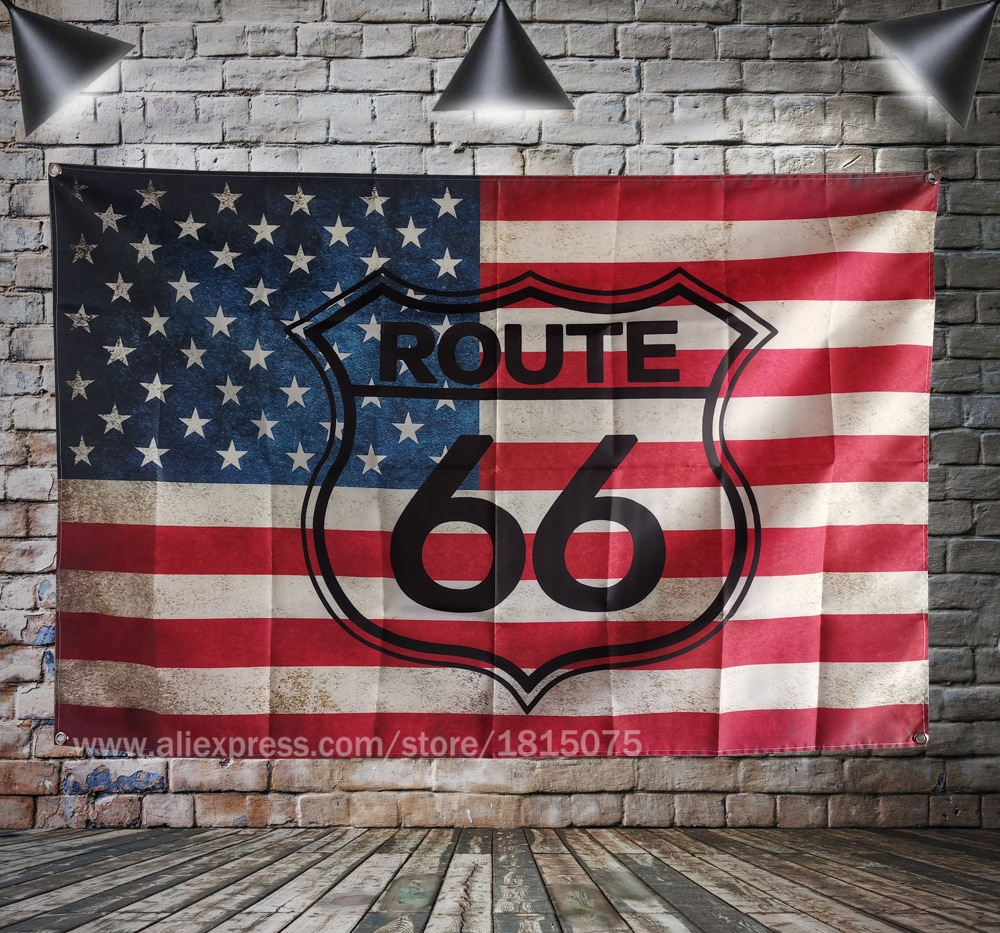 AliExpress - Route 66 Motorcycle Biker Rider Retro USA Flag  Banner Art Home Decoration Hanging flag 4 Gromments in Corners 3*5FT 144cm*96cm