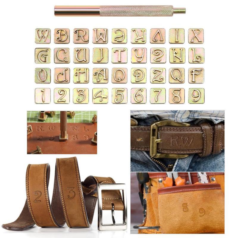 36 selos de aço carbono letras números de carimbo de couro conjunto de ferramentas de marcação de couro selo de metal conjunto de ferramentas de couro leathercraft