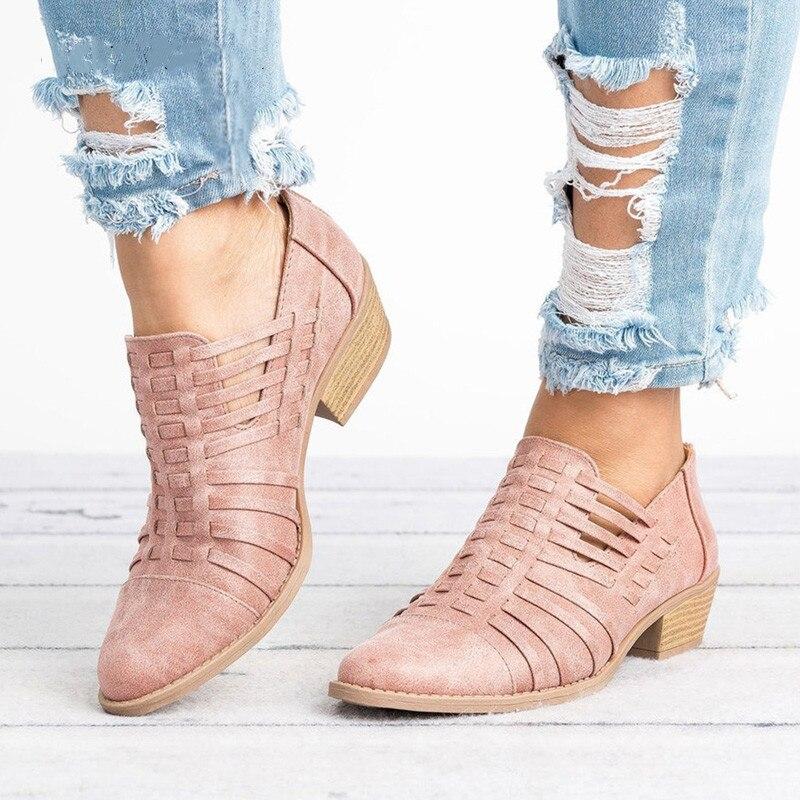 Nuevos zapatos de otoño para mujer, botines cortos con punta estrecha y tacón bajo, zapatos de mujer con corte de moda, botas para mujer XKD2070