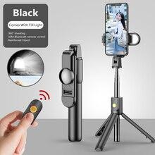 Sans fil Bluetooth 4.0 lumière de remplissage Selfie bâton pliable Mini trépied extensible avec Bluetooth télécommande pour Xiaomi Huawei