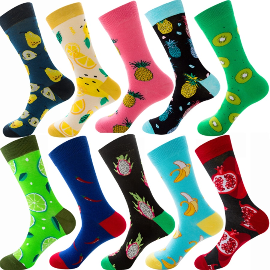 Crew Socks Men Novelty Colorful Patterned Socks Men's Dress Socks Fruit Design