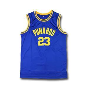 #23 Barack Obama Punahou Jersey Cheap Obama White Blue College Shirts Stitched Commemorative Edition Basketball Jerseys