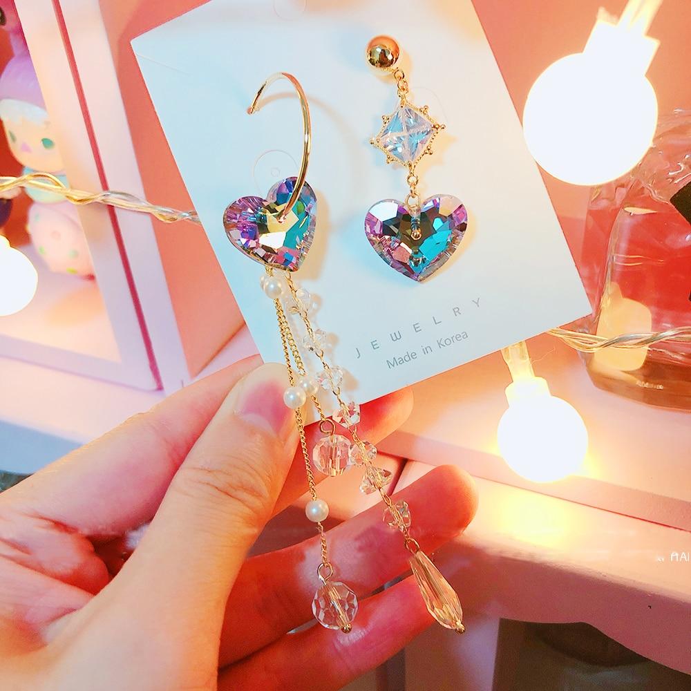 MENGJIQIAO Assimétrico Coreano Coração de Cristal Brincos Longos Gota Para Mulheres Elegante Temperamento De Luxo Presentes da Jóia Oorbellen