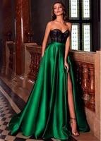 dark green long split evening dresses 2021 black lace top sweetheart floor length formal party prom gowns vestido festa longo