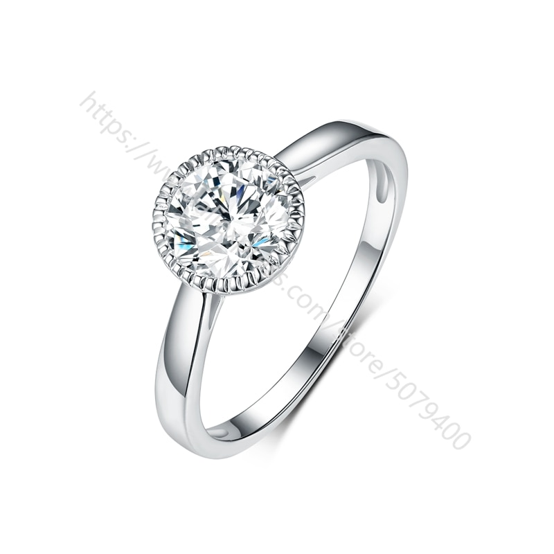 Big CZ stone engagement ring cubic zirconia white gold plated ring round antique halo wedding promise ring women girls gift