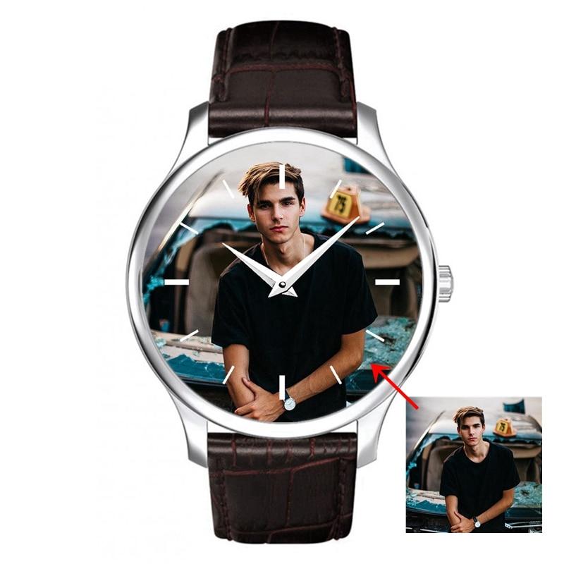 Мужские кварцевые наручные часы с фотографией, наружный диаметр 40 мм, кожаный ремешок, ручная работа, подарок на заказ