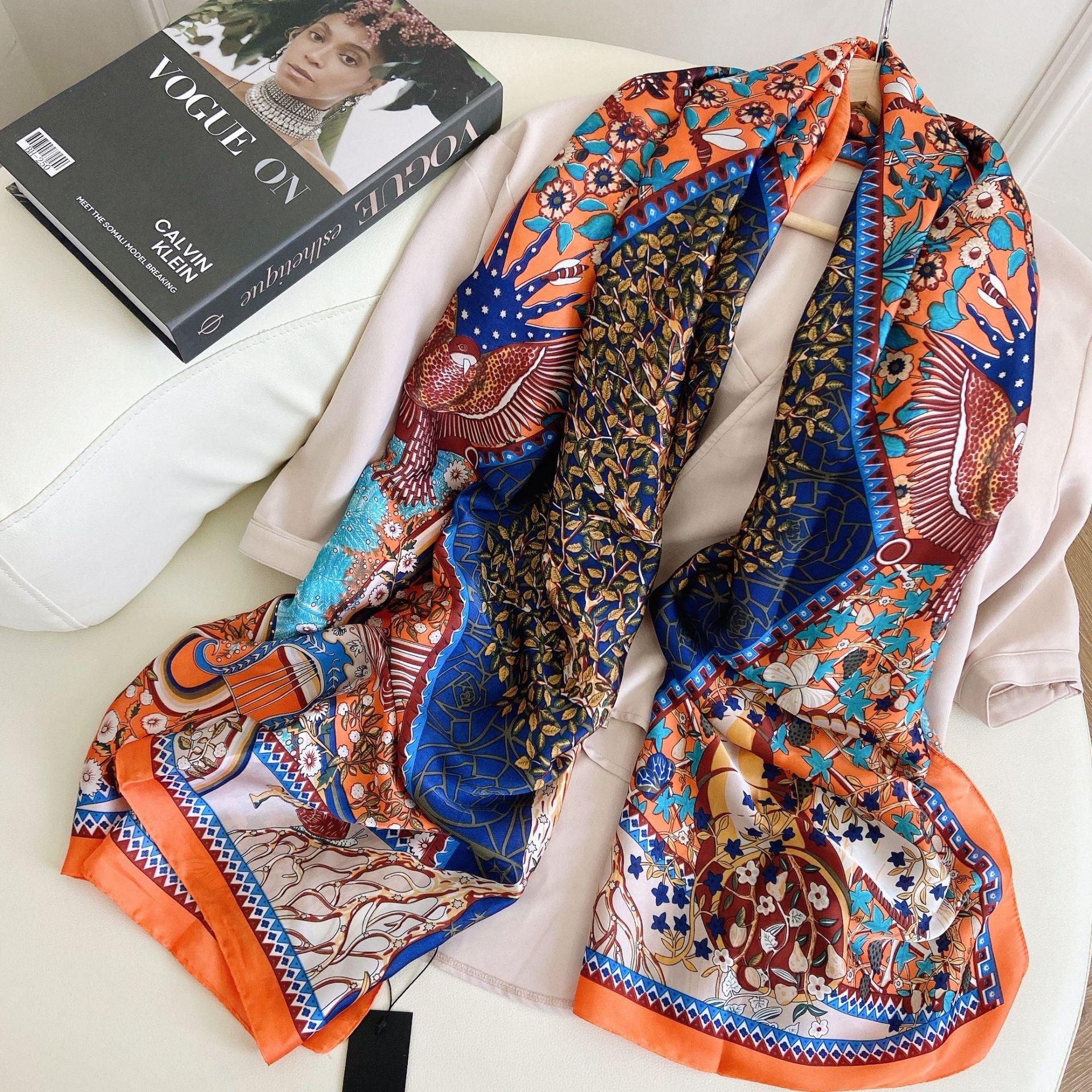 Фото - Шелковый шарф для женщин, 180x90 см, бандана, хиджаб, принт, большая шаль, парео, тихая, для пляжа, популярная новинка, лето 2021 шелковый шарф шаль женщин лето солнце