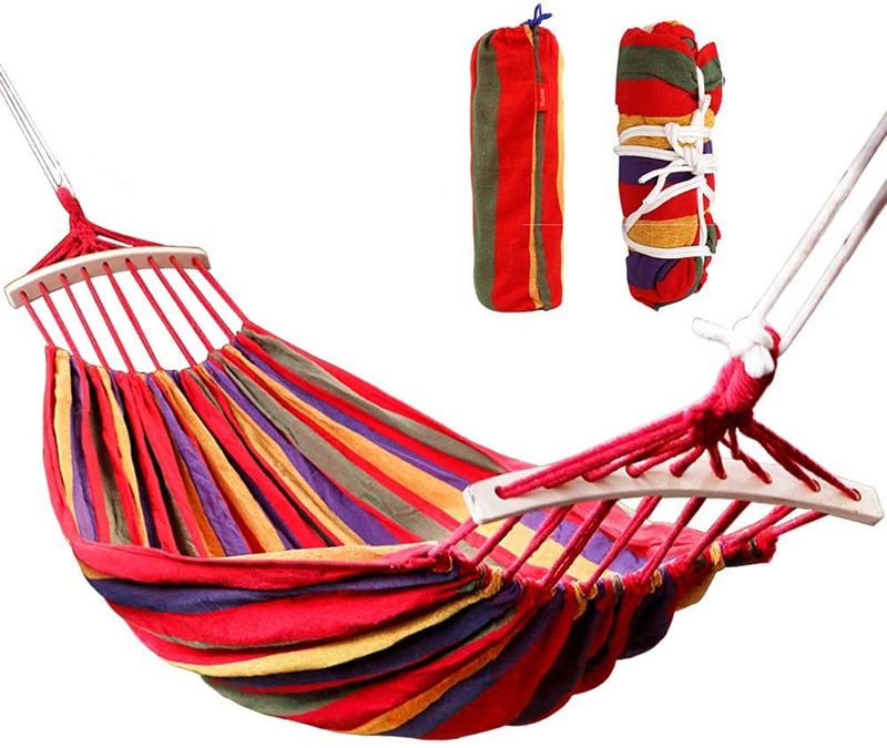 Single /Double People Canvas Camping Hammock Bend Wood Stick steady Hammock Outdoor Garden Swing Hanging Chair