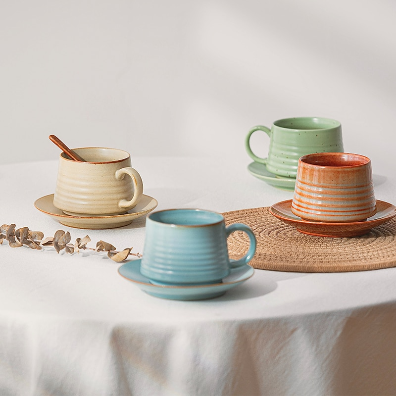 Luxury Vintage Coffee Cup Set Ceramic Porcelain Nordic Eco Friendly Afternoon Tea Mate Cup Travel Tazas De Cafe Drinkware 50