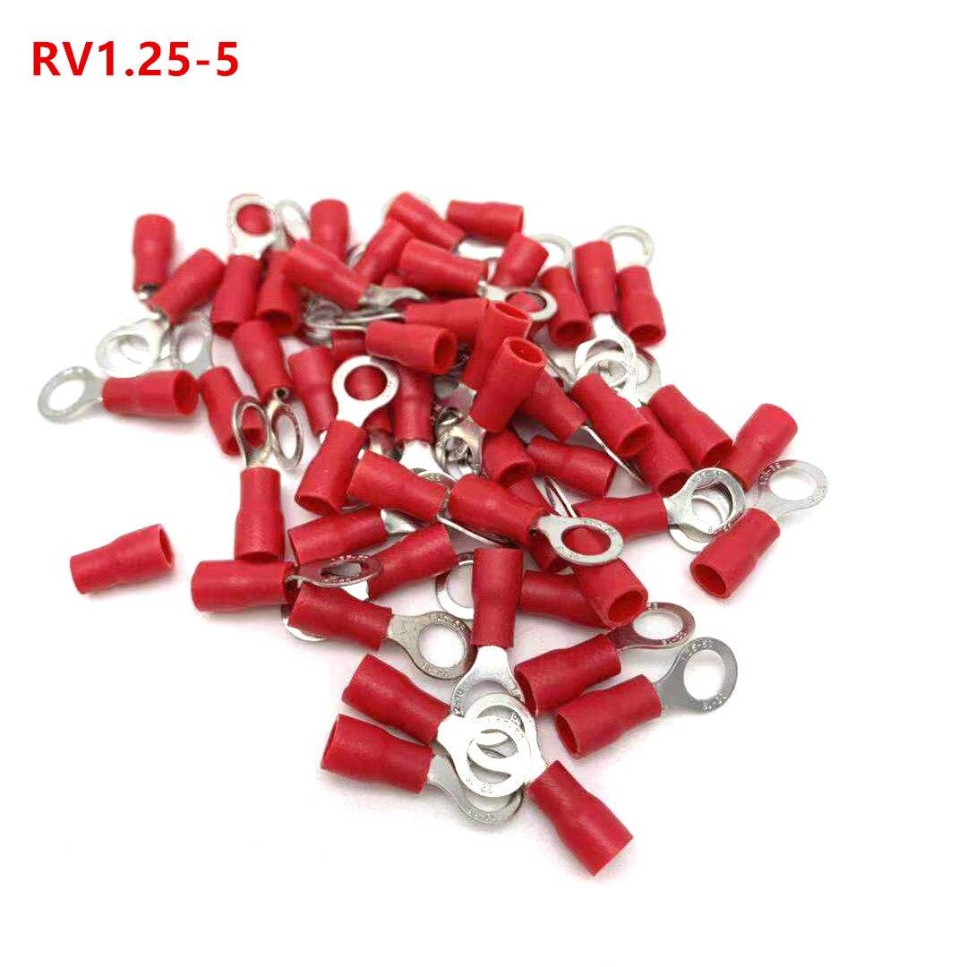 Детали, Красный изолированный обжимной кольцевой клеммный кабель, соединитель провода, 100 Детали, RV Терминалы      АлиЭкспресс