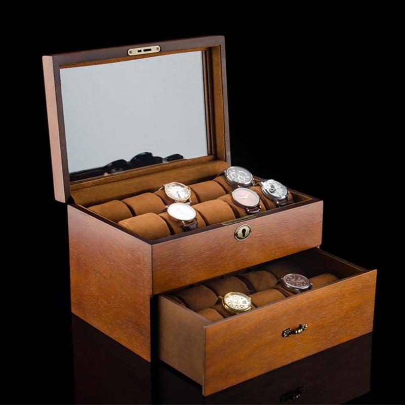Luxury Double Layer Watch Box Organizer 20 Slots Retro Watch Box Case Wood Jewelry Bracelets Mechanical Watch Storage Box Gift enlarge