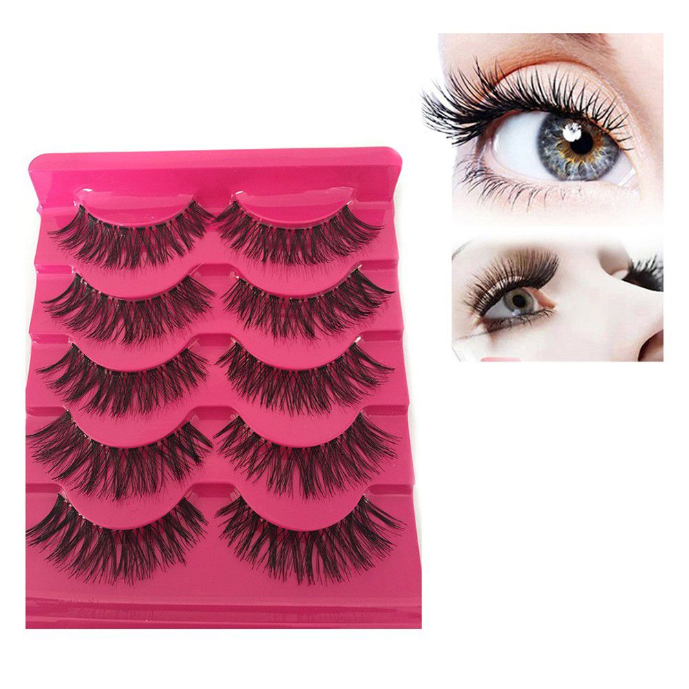 5pairs/box Long Cross False Eye Lashes Handmade Thick Natural Soft Eyelashes Extension Beauty For Wo