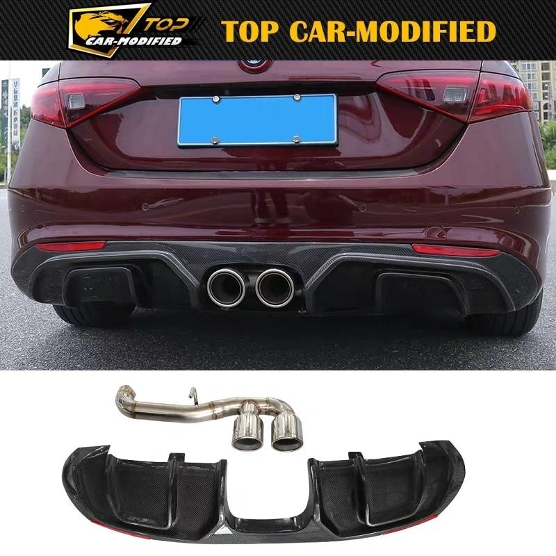 Free shipping middle double exhaust 100% carbon fiber car rear bumper lip diffuser spoiler for Alfa Romeo Giulia 200 280