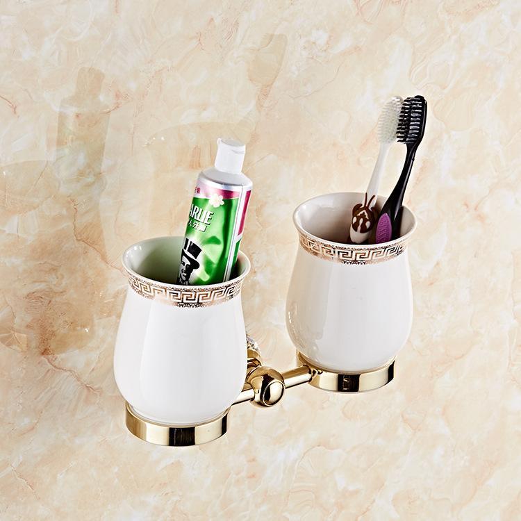 الكريستال الذهبي فرشاة الأسنان كأس حامل غسول الفم كأس حامل مزدوج كأس السيراميك نمط كأس الحمام قلادة الحمام الأجهزة