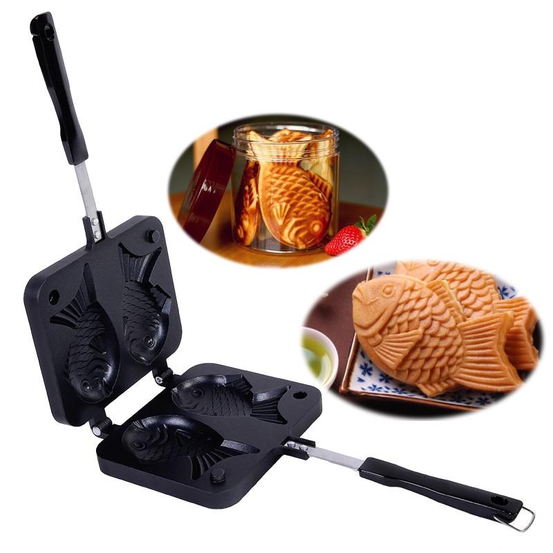 Japanischen Fisch-Förmigen Backformen Waffel Pan Maker Japanischen Pfannkuchen Doppel Pan Edelstahl Pfanne Hause Kuchen Werkzeuge