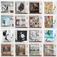 Rideaux de douche occultants imprimes animaux  pour salle de bain  decor de plage  Polyester impermeable  Anti-Peeping  rideau 3D pour baignoire