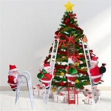 2020 drôle noël père noël électrique escalade jouets Musical escalade échelle poupée arbre de noël ornements nouvel an enfants cadeaux
