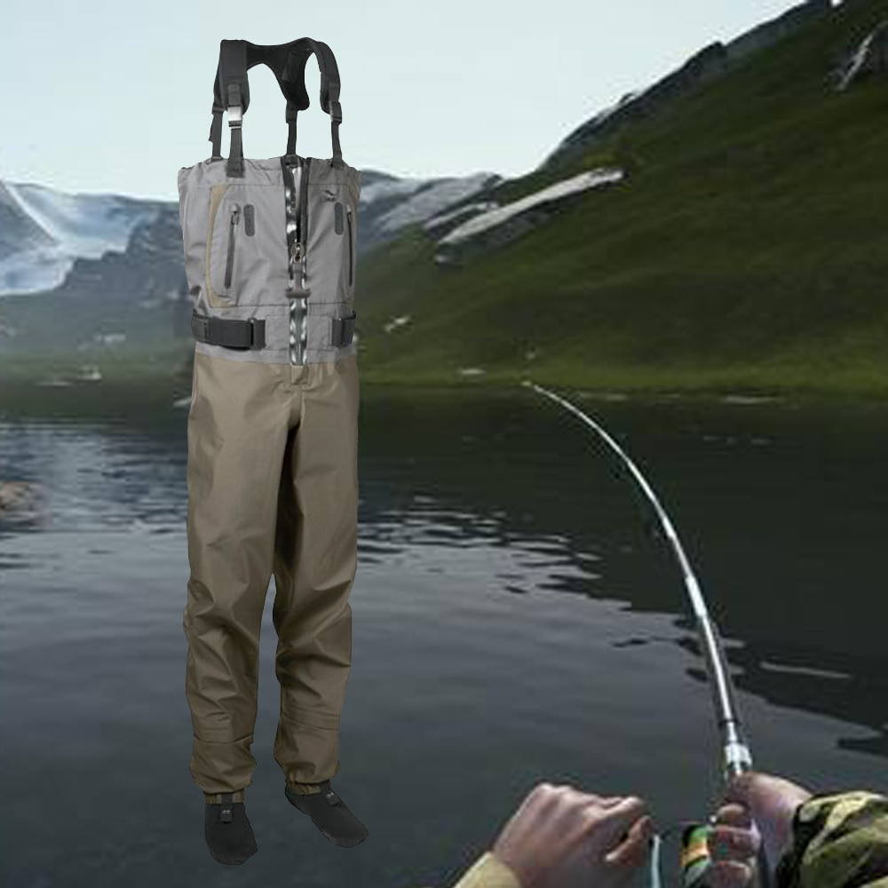 high jump ultra thin 0 34mm siamese fishing waders waterproof 700d nylon pvc breathable chest height pocket belt fishing overall Waterproof Breathable Chest Waders Pants Premium Fishing Gear Manufacturers Dry  Apparel Shorty Wet suit for Fishing & Hunting