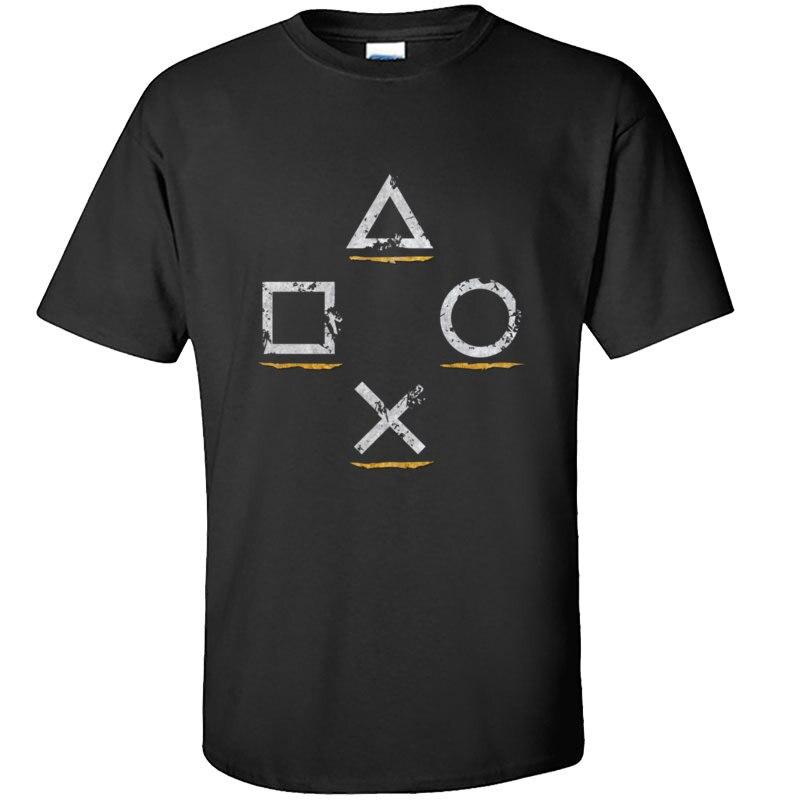 Cupons homens t jogar estação botão ícones tshirts 100% algodão manga curta hip hop t camisa o-pescoço personalizado homem