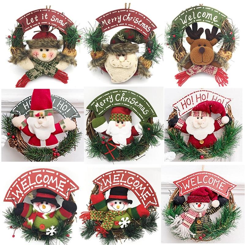 Grinalda de natal de madeira decoração parede pendurado porta natal papai noel elk boneco de neve decoração garland ornamentos chrstmas pingente natal