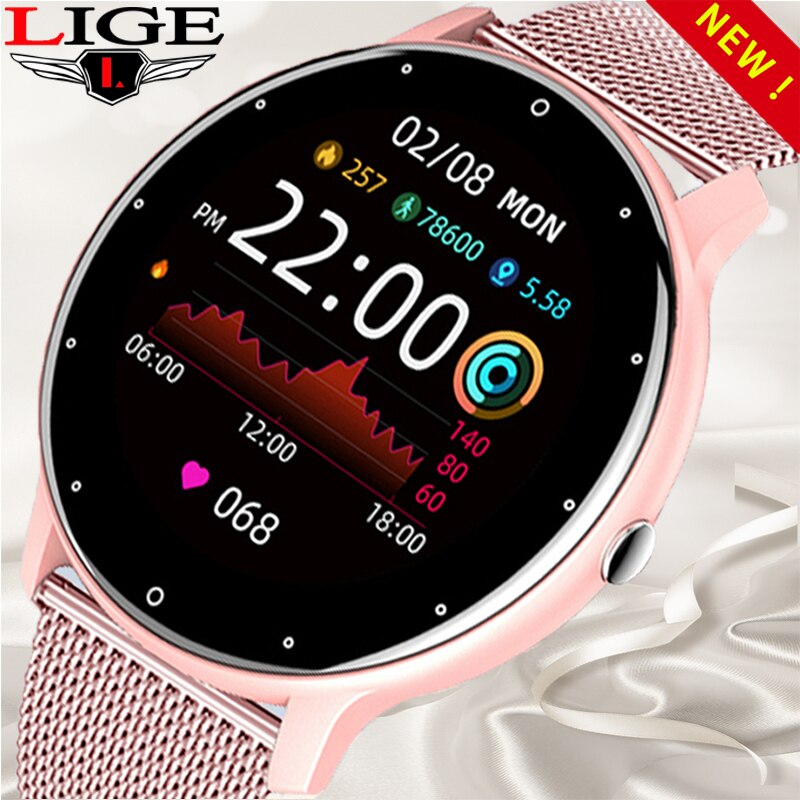 LIGE Women Smart Watch Real-time Weather Forecast Activity Tracker Heart Rate Sports Ladies Smart Wa