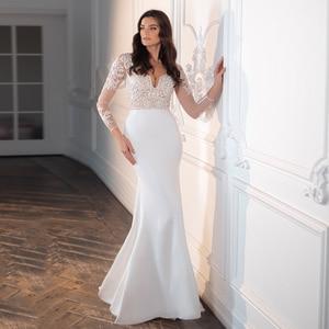 2020 Sexy V Neck Mermaid Wedding Dress Fashion Long Sleeves Appliques Sweep Train Lace Bridal Dresses Vestido De Novia